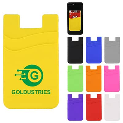Yellow double pocket silicone phone wallet with logo.