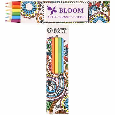 Cardboard 6 pack colored pencils with promotional logo.