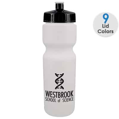 Plastic white water bottle with custom logo and push pull lid in 28 ounces.