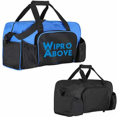 Polyester royal blue budget duffel with printed logo.
