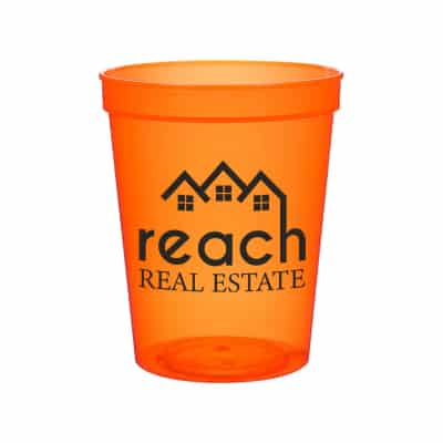 Plastic translucent neon orange stadium cup with custom imprint in 16 ounces.