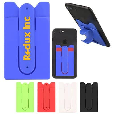 Silicone blue phone wallet with custom imprint with kickstand.