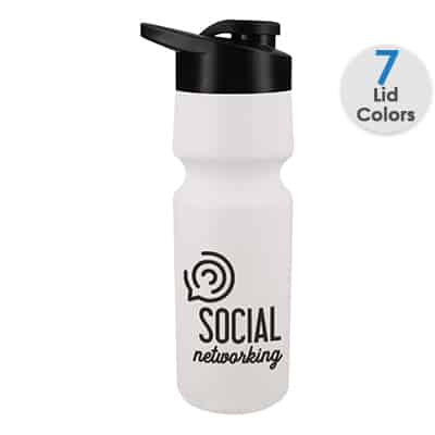 Plastic white water bottle with custom imprint and snap lid in 24 ounces.