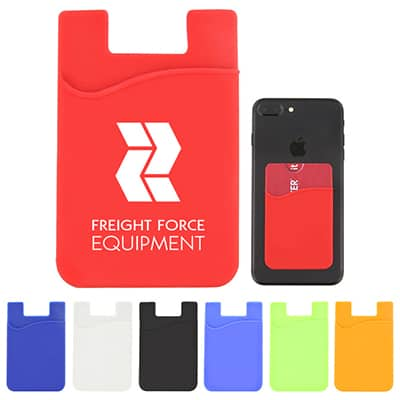Silicone red phone wallet with branded imprint.