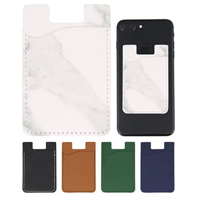 Polyurethane white and black phone wallet blank.