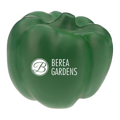 Foam green pepper stress ball printed with logo.