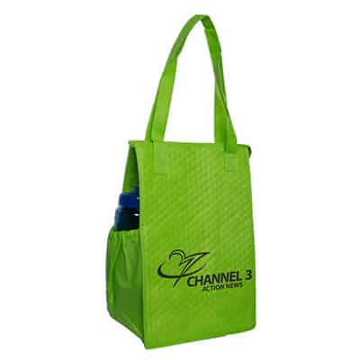Polypropylene lime super snack lunch bag with branding.