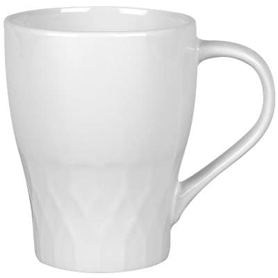Ceramic white coffee mug with c-handle blank in 15 ounces.