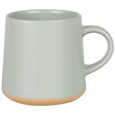 Ceramic sage coffee mug with c-handle blank in 15 ounces.