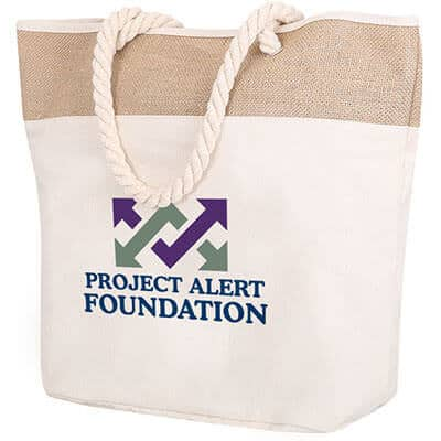 Cotton canvas natural beige rope tote with printed full color logo.
