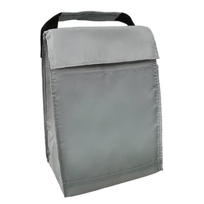 Polyester gray fold-over budget lunch bag blank.