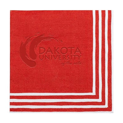 2Ply tissue stripe border red debossed cocktail napkins promo.