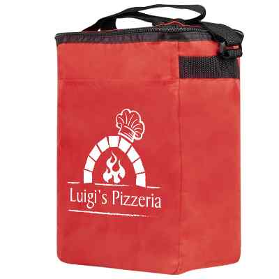 Polyester red 12 pack lunch cooler bag with custom logo.