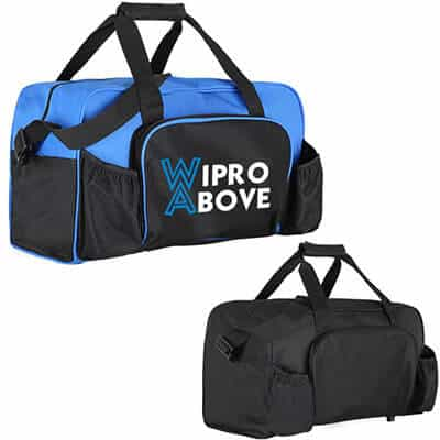 Polyester royal blue budget duffel with printed full color logo.