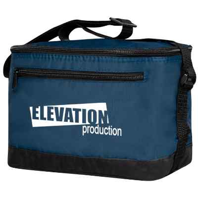 Nylon navy blue 6 pack insulated bag with promotional imprint.