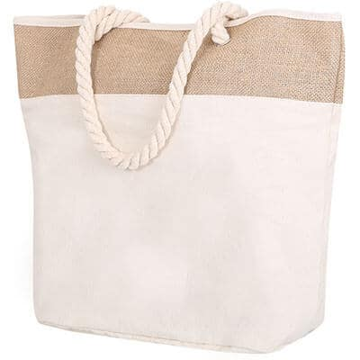 Cotton canvas natural beige rope tote blank.