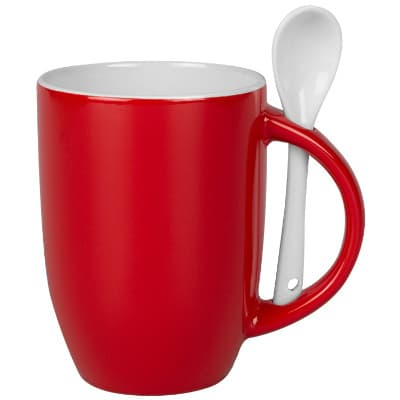 Ceramic red coffee mug with c-handle blank in 12 ounces.