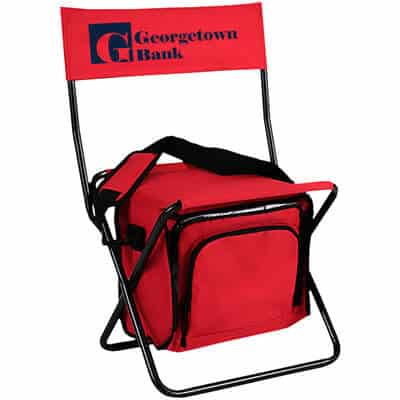 Customized collapsible red chair with insulated cooler.