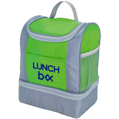 Polyester lime green two tone lunch cooler with printed imprint.