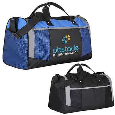 Polyester royal blue adventure duffel with custom full color imprinted.