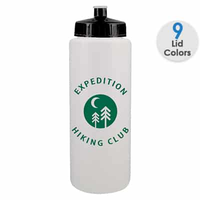 Plastic white water bottle with custom imprint and push pull lid in 32 ounces.