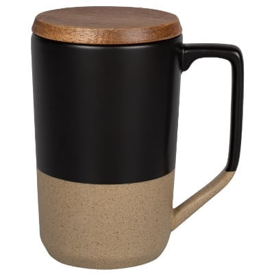 Ceramic black coffee mug with c-handle blank in 16 ounces.