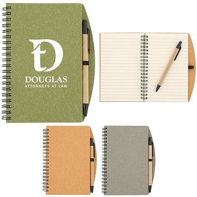 Paper olive speckle notebook with pen and promotional imprint.