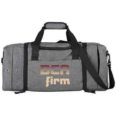 Polycanvas gray superior sneaker duffel with branded full color logo.