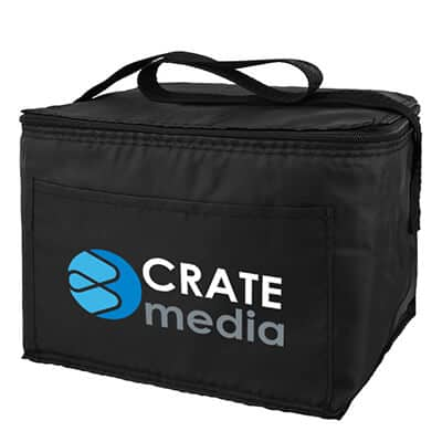 Polyester black 6 pack budget lunch cooler with branded full color logo.