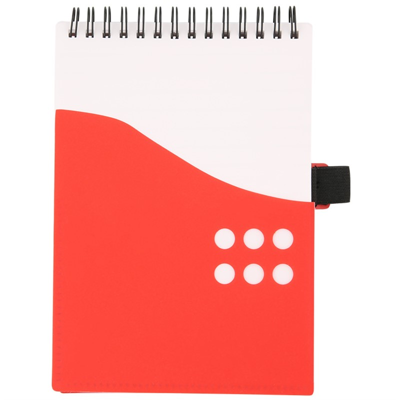 Jotter notebook with front and inside pockets.