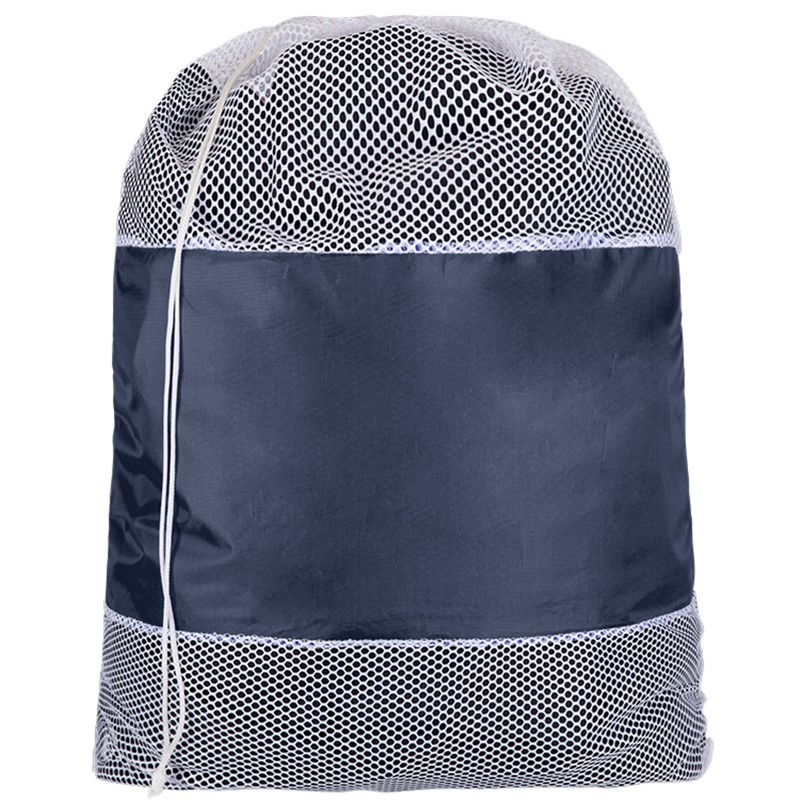 Polyester and nylon mesh cinch laundry bag.