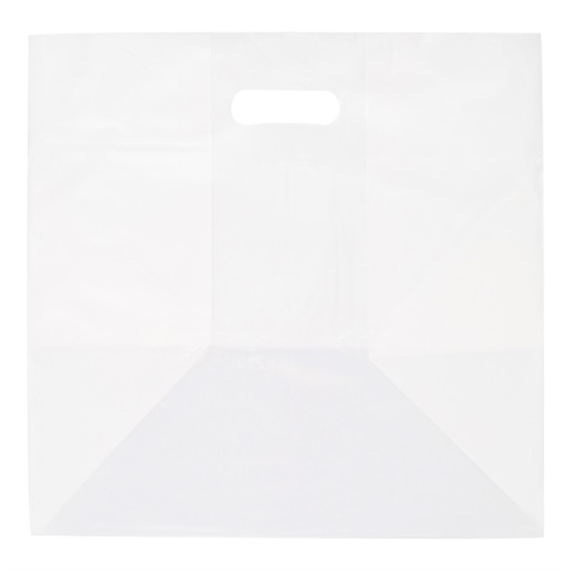 Plastic recyclable take out bag blank.