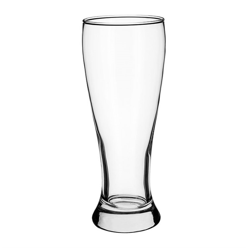 Glass clear pilsner glass with custom imprint in 16 ounces.