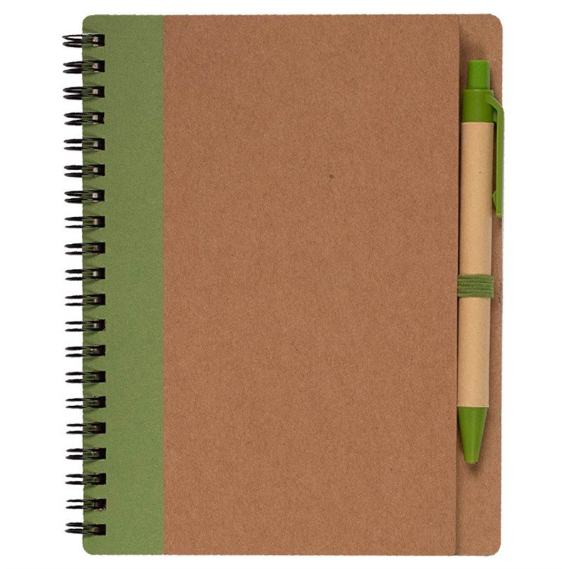 Recycled cardboard notebook with pen.