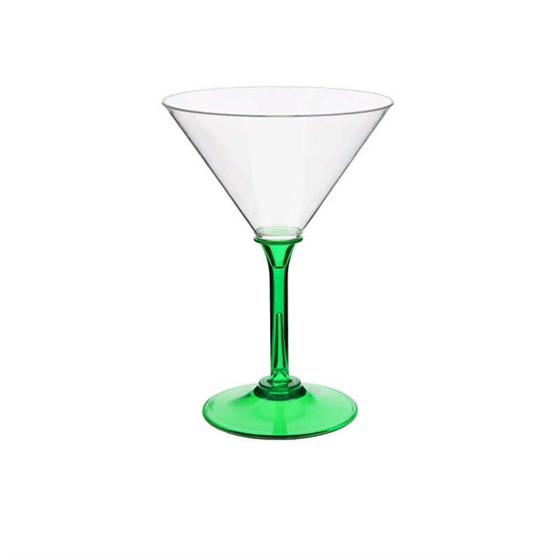 Acrylic green martini glass with custom full-color logo in 7 ounces.