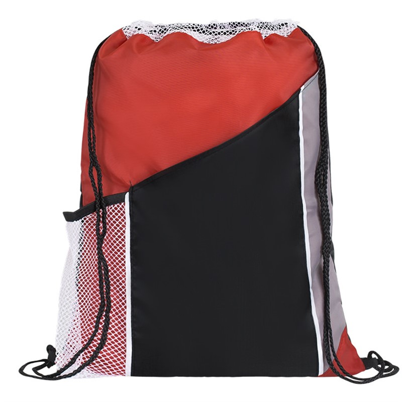 Polyester tri-color drawstring with two front pockets.