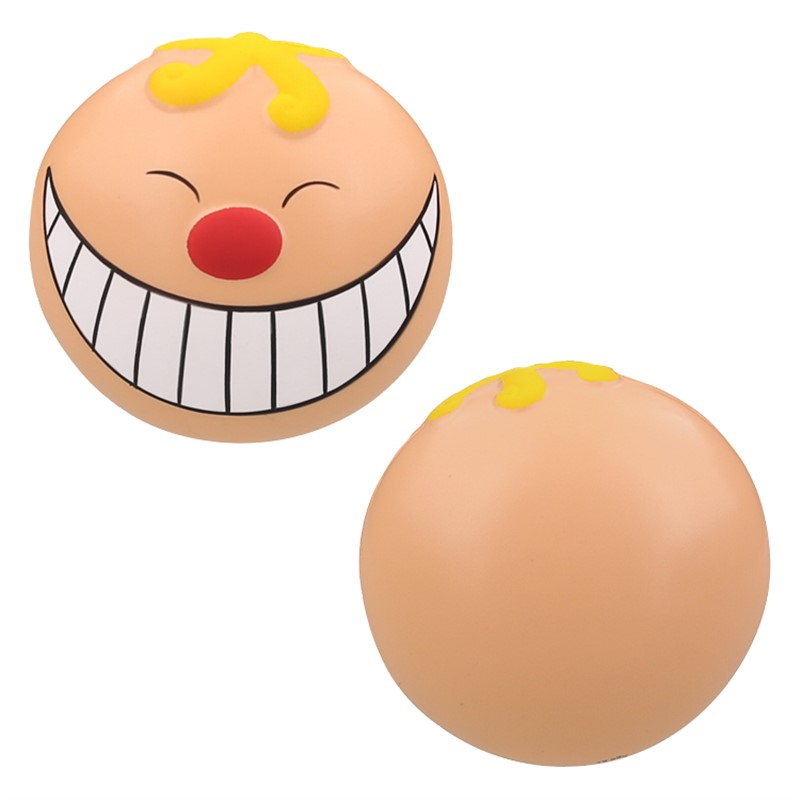 Foam smiling funny face stress ball.