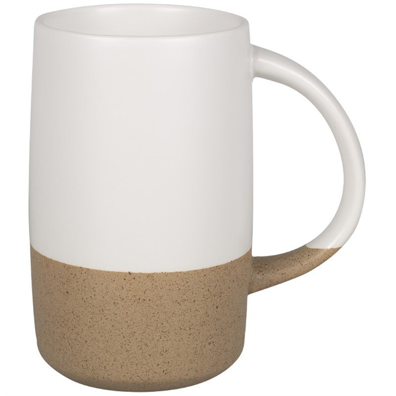 Ceramic coffee mug with c-handle in 17 ounces.