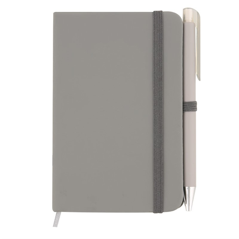 Mini leatherette notebook with pen.