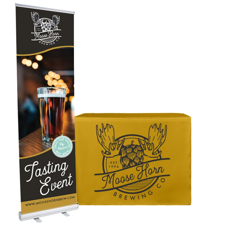 Polyester 4 foot demo height table cover and 24 inch banner stand trade show package.