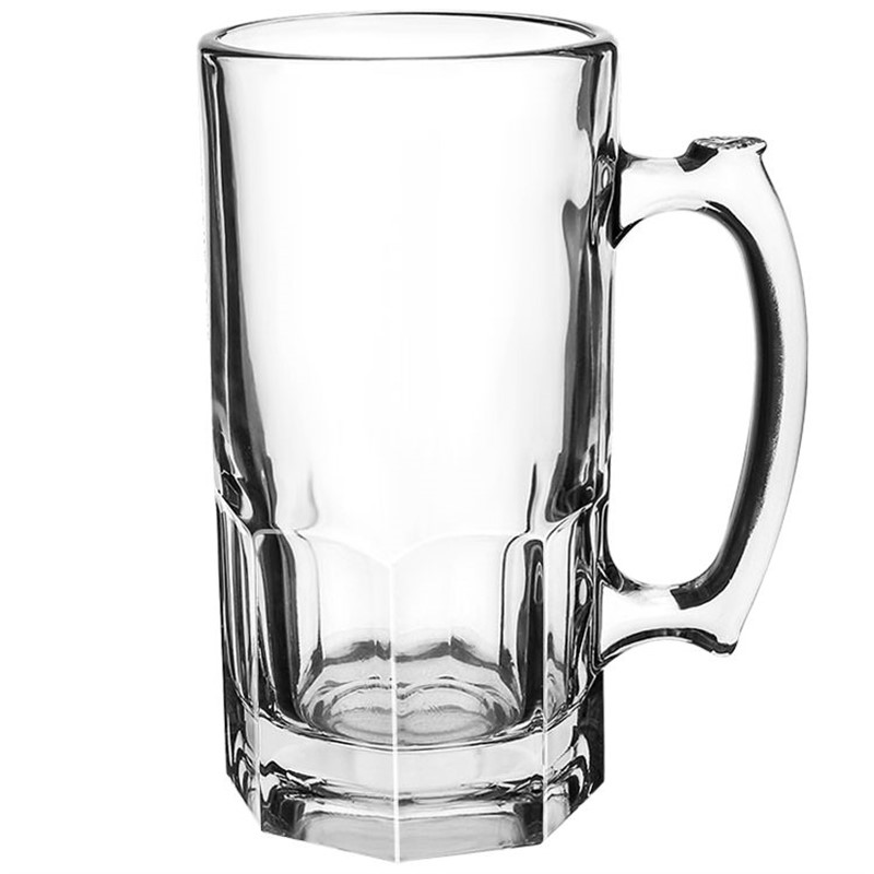 Glass clear beer glass in 34 ounces.