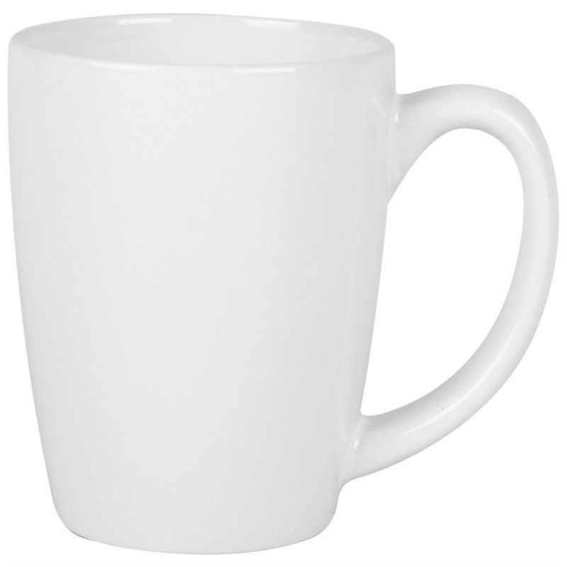 Ceramic coffee mug with c-handle in 12 ounces.