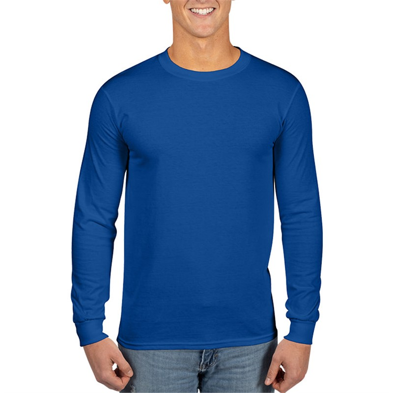 Royal blue long sleeve customized t shirt.