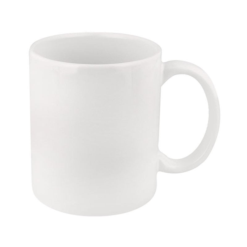 Ceramic coffee mug with c-handle in 11 ounces.