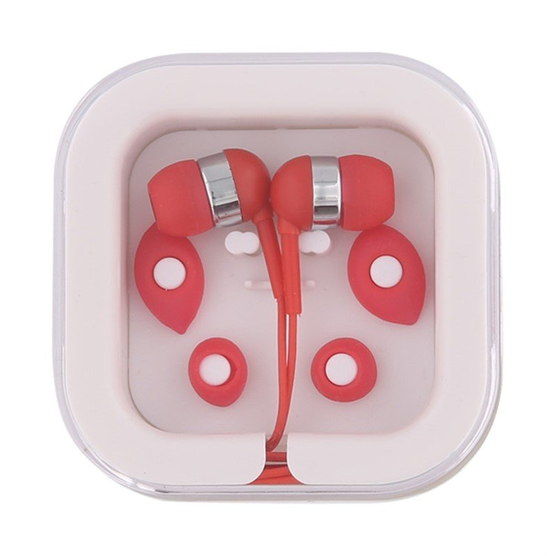 Plastic case with earbuds.