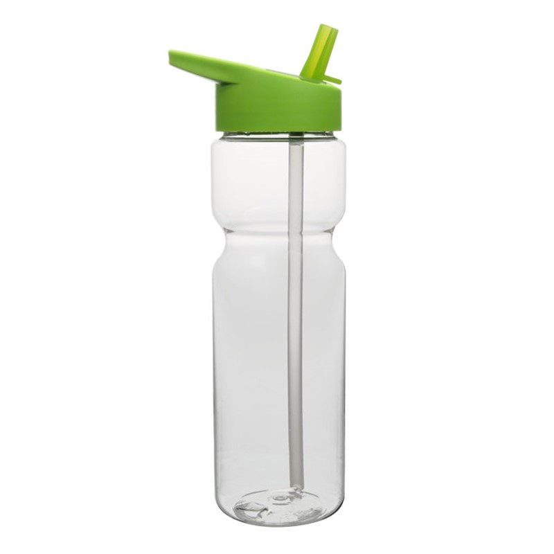 Plastic water bottle with flip straw lid in 28 ounces.