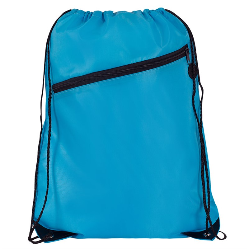 Polyester drawstring bag with zippered front pocket and reinforced corners.