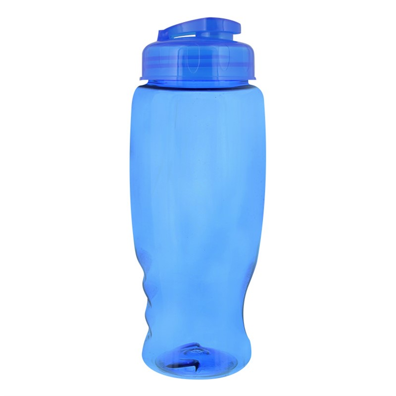Plastic water bottle with flip top lid in 27 ounces.