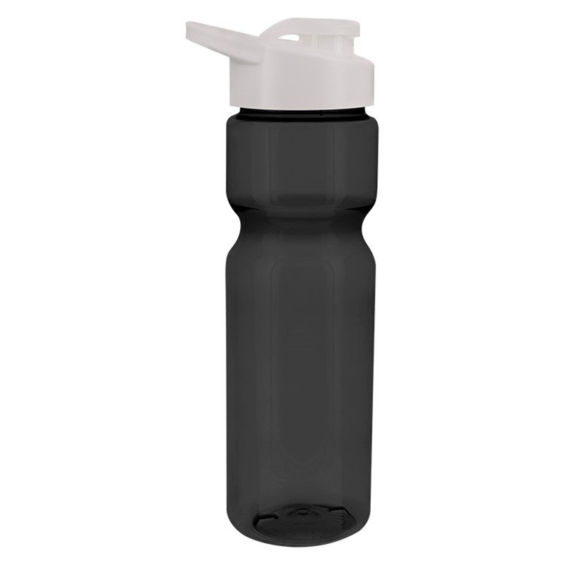 Plastic translucent smoke water bottle blank and snap lid in 28 ounces.