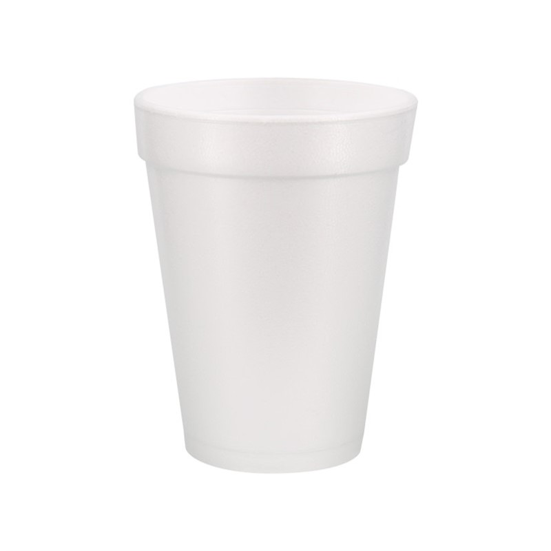 Styrofoam white foam cup with custom imprint in 14 ounces.